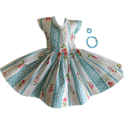 "Vintage Clone Blue & White Patterned Dress for 11"" Doll, circa 1960s"
