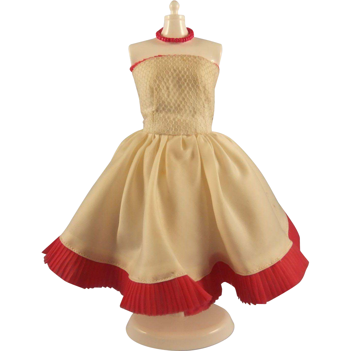 """Vintage Clone Strapless Dress for 11.5"""" Fashion Doll, 1960s"""