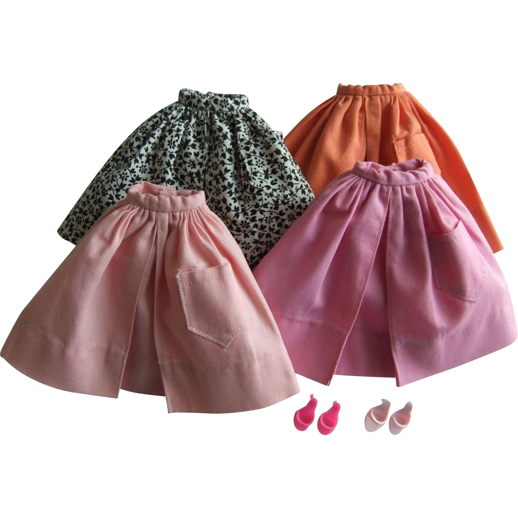 Vintage Barbie Mix & Match Pak Gathered Skirts, Heels, 1962-63