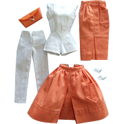 Vintage Barbie Mix & Match Orange & White Pak items with accessories, 1962-63