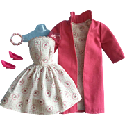 Vintage Clone Fashion Doll Dress and Coat Set, Hot Pink, 1960s