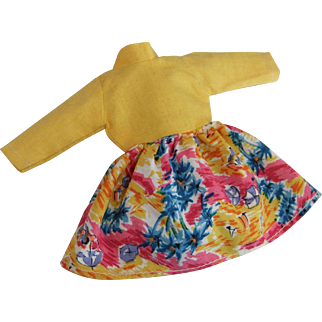 Vintage British Crown Colony of Hong Kong Dress for 7.5 inch doll, 1960s