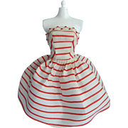 Vintage Clone Elite Fashion for Fashion Doll Bonnie, Red Strapless Striped Dress, Made by Marx, 1950-60s