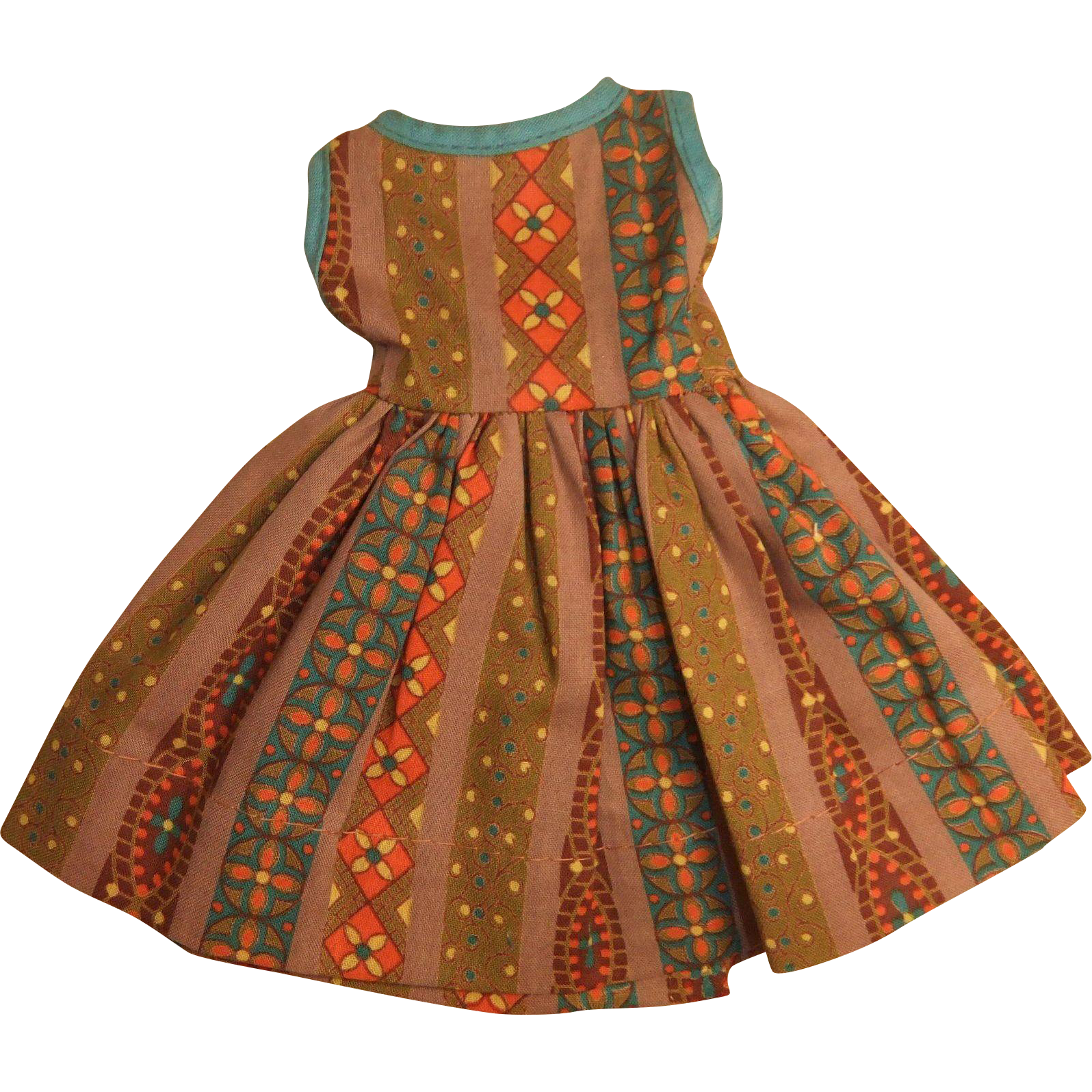 """Vintage Clone Brown Patterned Dress for 11""""-12"""" Fashion Doll, 1950-60"""
