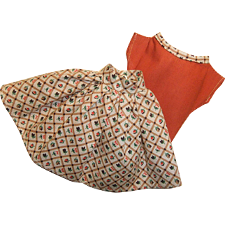 Vintage Clone Skirt and Blouse for Fashion Doll, 1950/60s