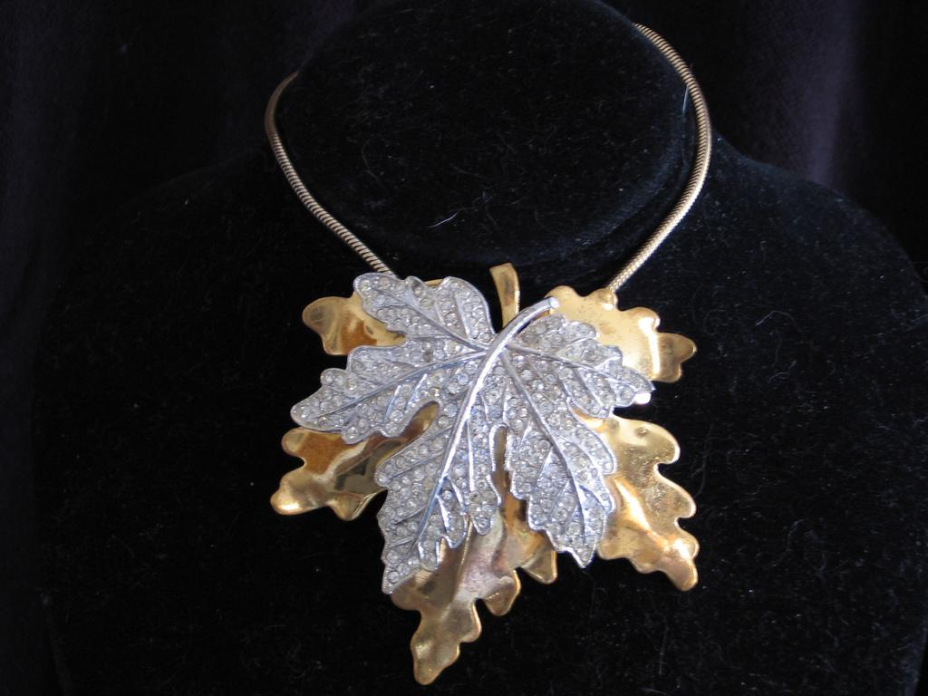 McClelland Barclay Pave Rhinestone Maple Leaf Necklace
