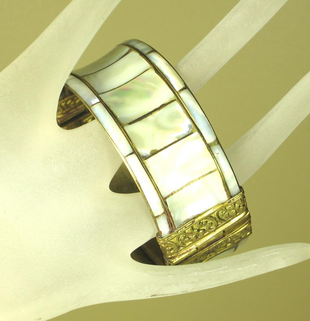 Gold Plated Metal and Mother of Pearl Bracelet