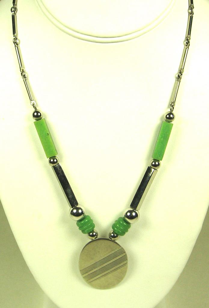 Art Deco Jakob Bengel Chrome and Galalith Necklace