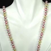 Three Toned Pink, Yellow, and Off White Imitation Pearl Necklace
