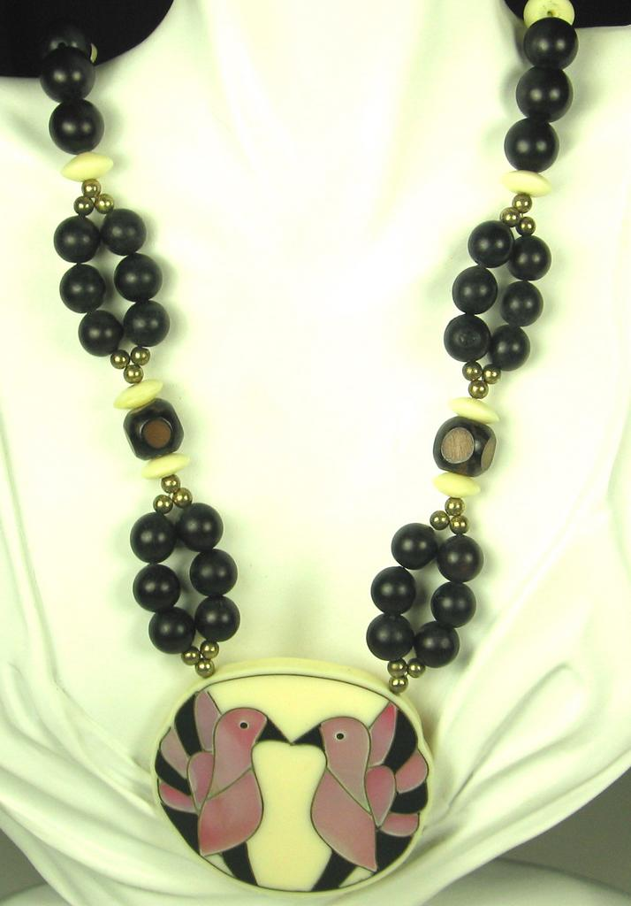 Inlaid Laminated Plastic and Wood Bead Necklace