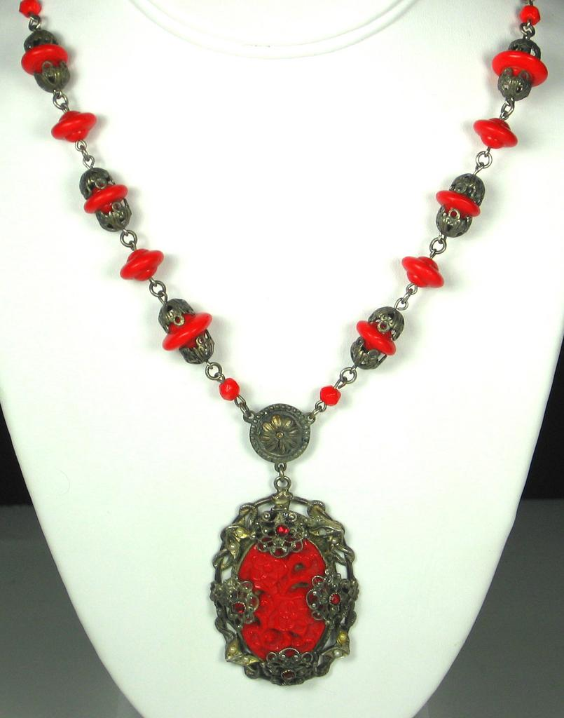 Gold Tone Metal Imitation Pearl and Red Glass Floral Necklace