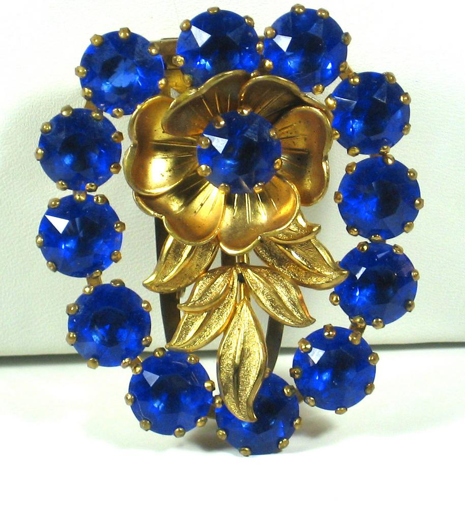 Gold Tone Metal and Blue Glass Floral Dress Clip