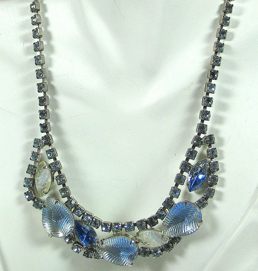 Frosted Light Blue and White Glass Necklace