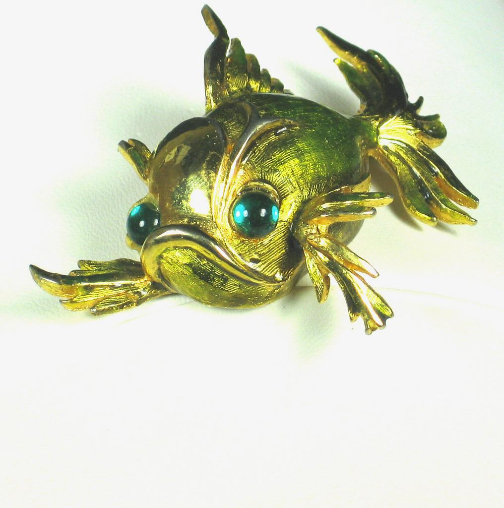 Hattie Carnegie Gold Tone Metal and Enamel Fish Pin