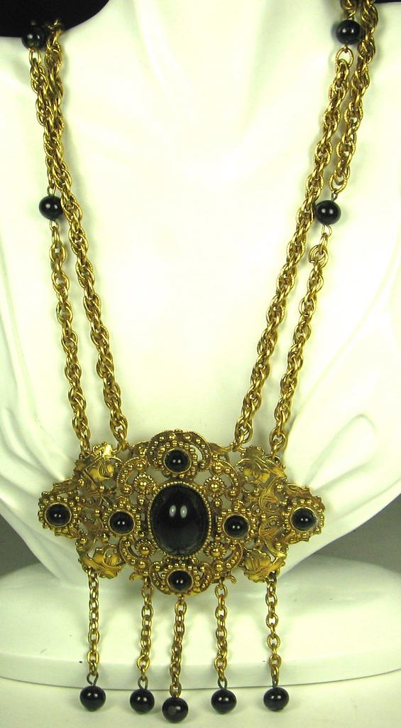 Pauline Rader Gold Tone Metal and Jet Black Glass Necklace