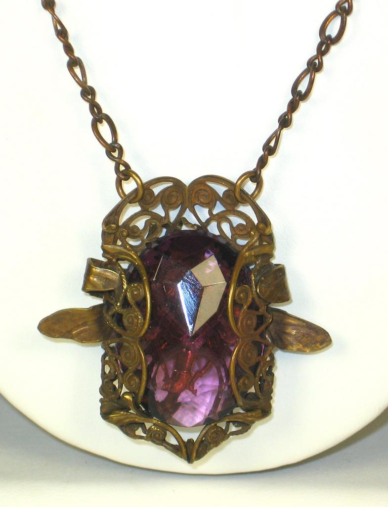 Vintage Brass and Amethyst Glass Pendant Necklace