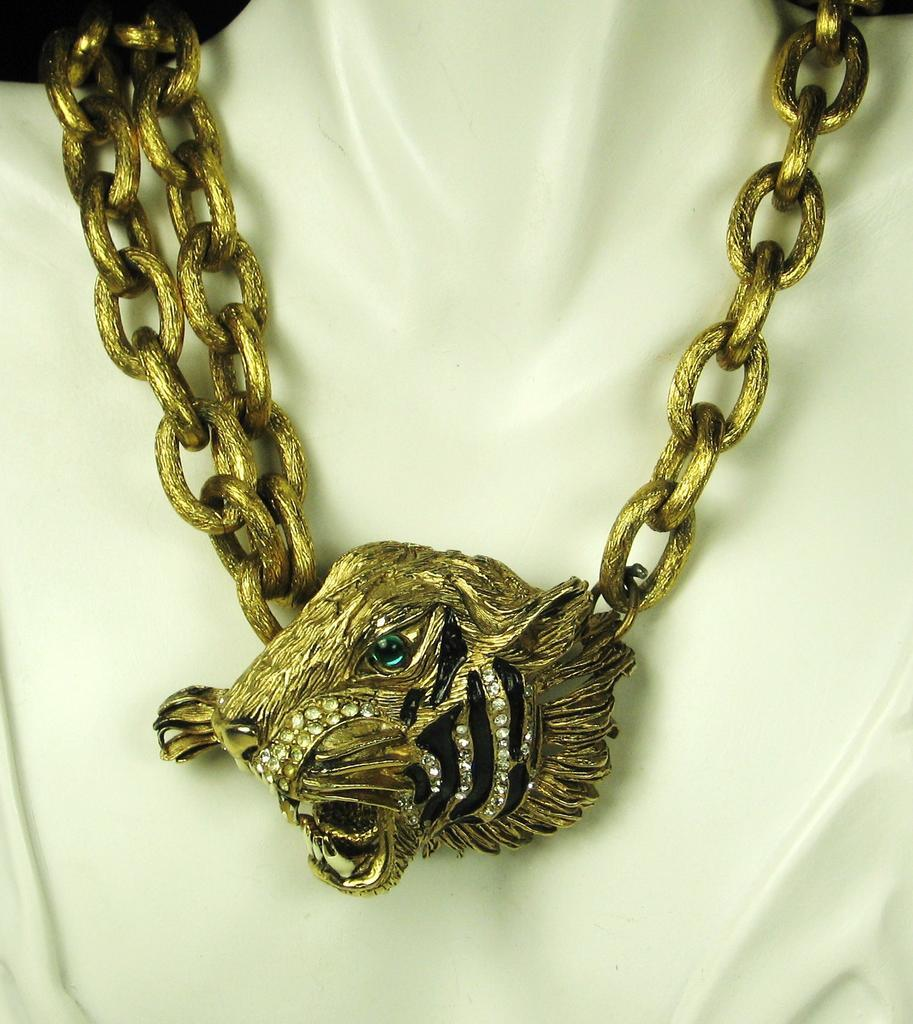 Hattie Carnegie Roaring Tiger Pendant and Belt