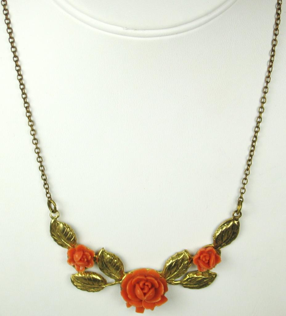 Coral Plastic and Gold Tone Gilt Metal Floral Necklace