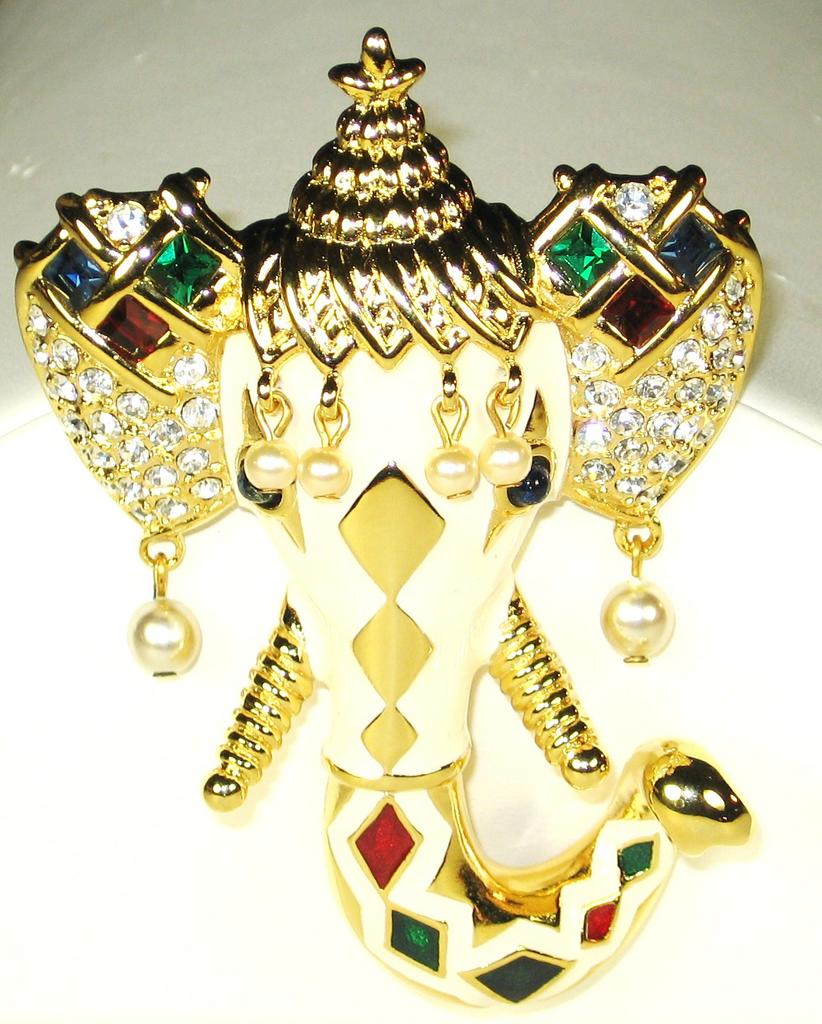 Kenneth Jay Lane Elephant Pin with Imitation Pearl Accents