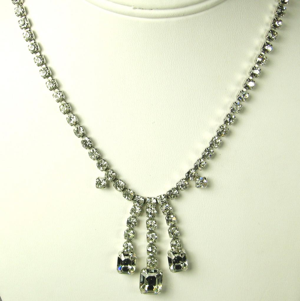 Vintage Rhodium Plated Metal White Emerald Cut Necklace