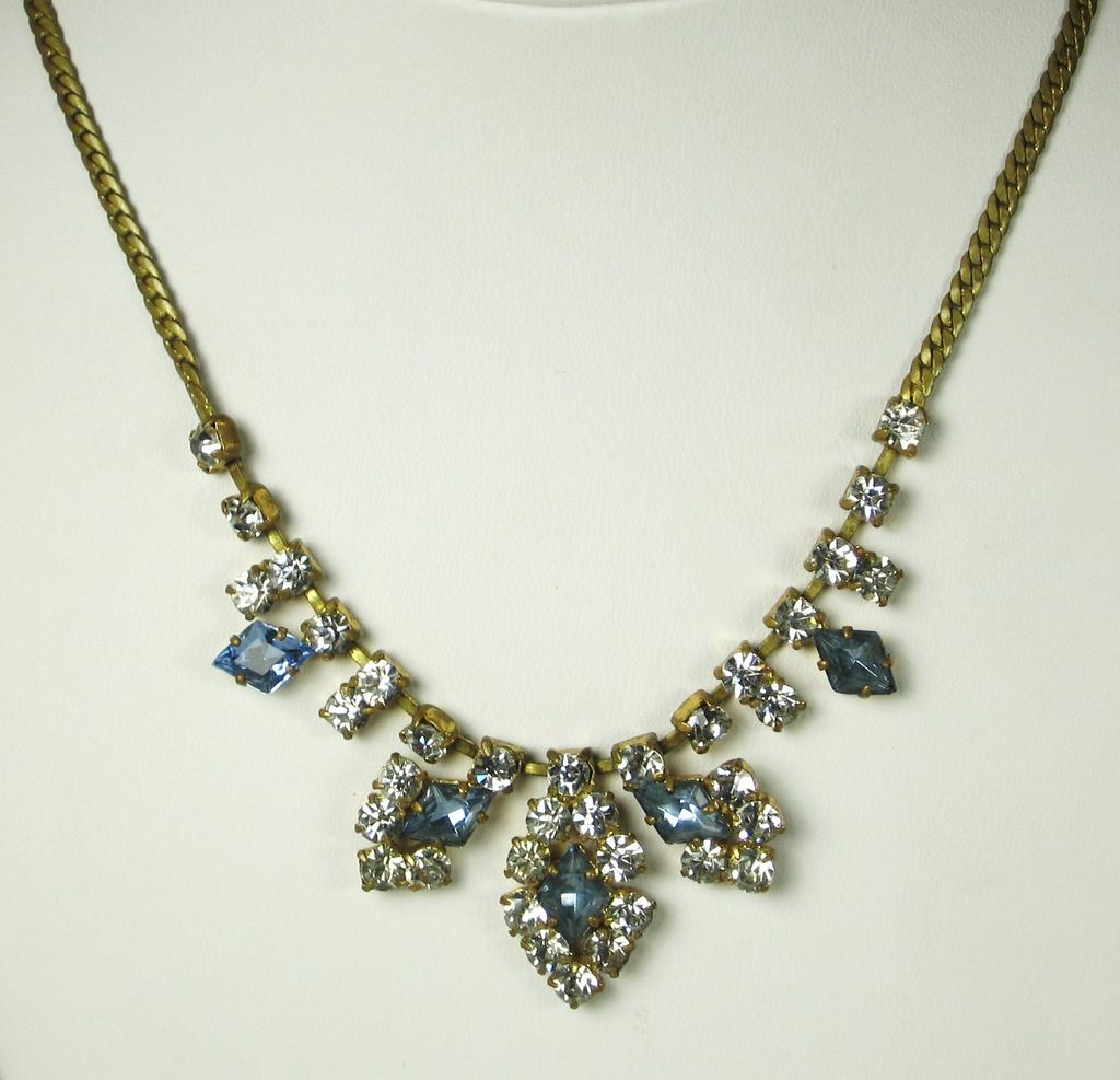 Diamond Shaped Blue Glass Gemstone Germany Necklace