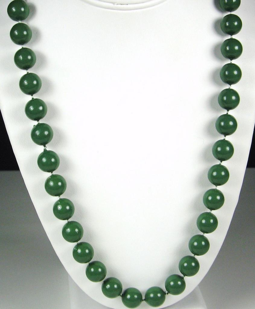 Vintage Green Plastic Beaded Necklace