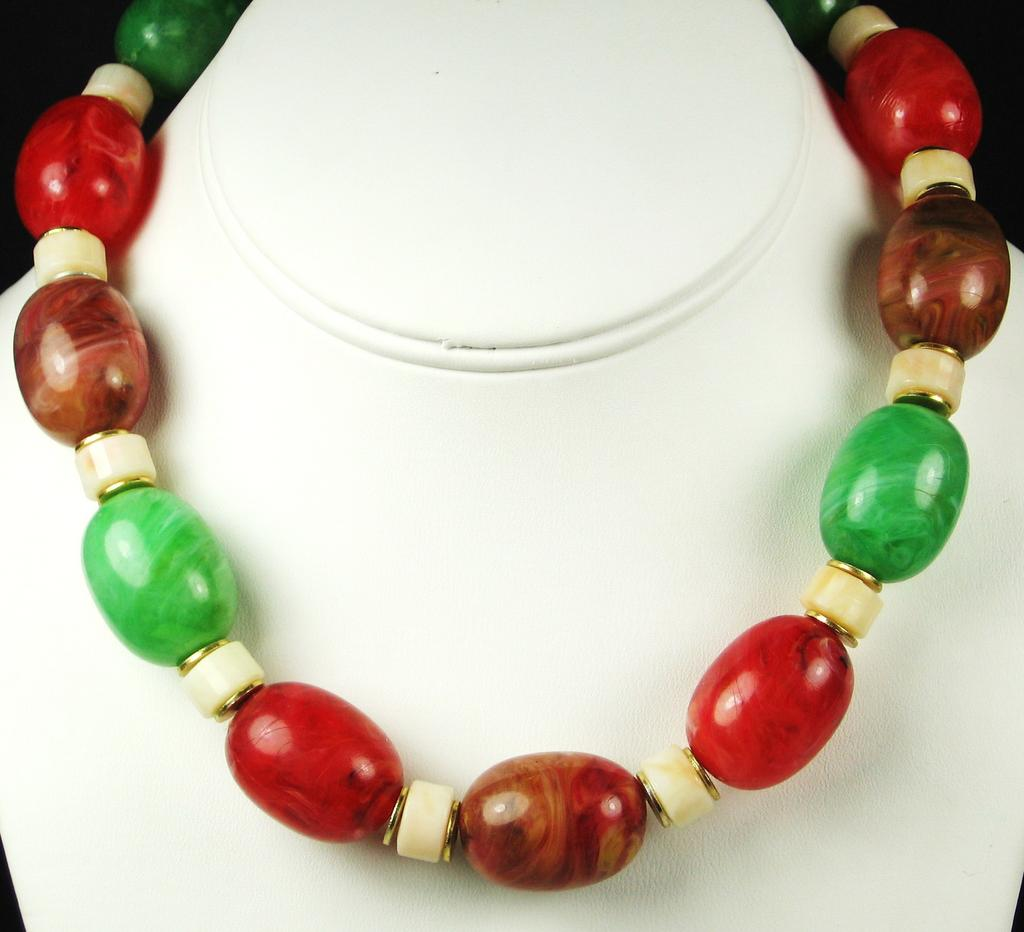 Red, Light Brown, and Green Marbled Plastic Beaded Necklace