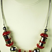 Jakob Bengel Chrome Bead and Galalith Necklace