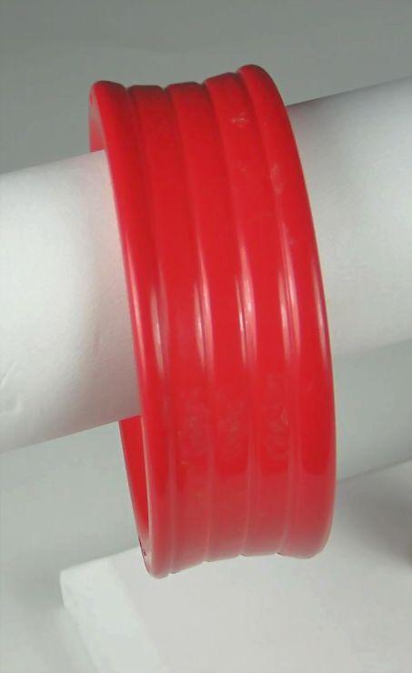 Vintage Red Plastic Bangle Bracelet