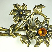 Gold Tone Metal and Amber Colored Glass Pin