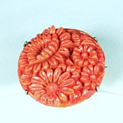 Vintage Coral Colored Glass Floral Pin