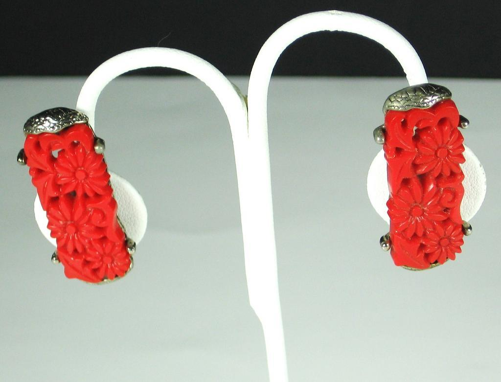 Vintage Carved Red Plastic Floral Earrings