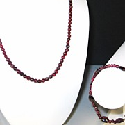 Vintage Sterling and Red Garnet Bead Necklace and Bracelet