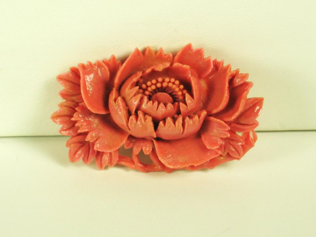 Vintage Coral Colored Plastic Floral Brooch