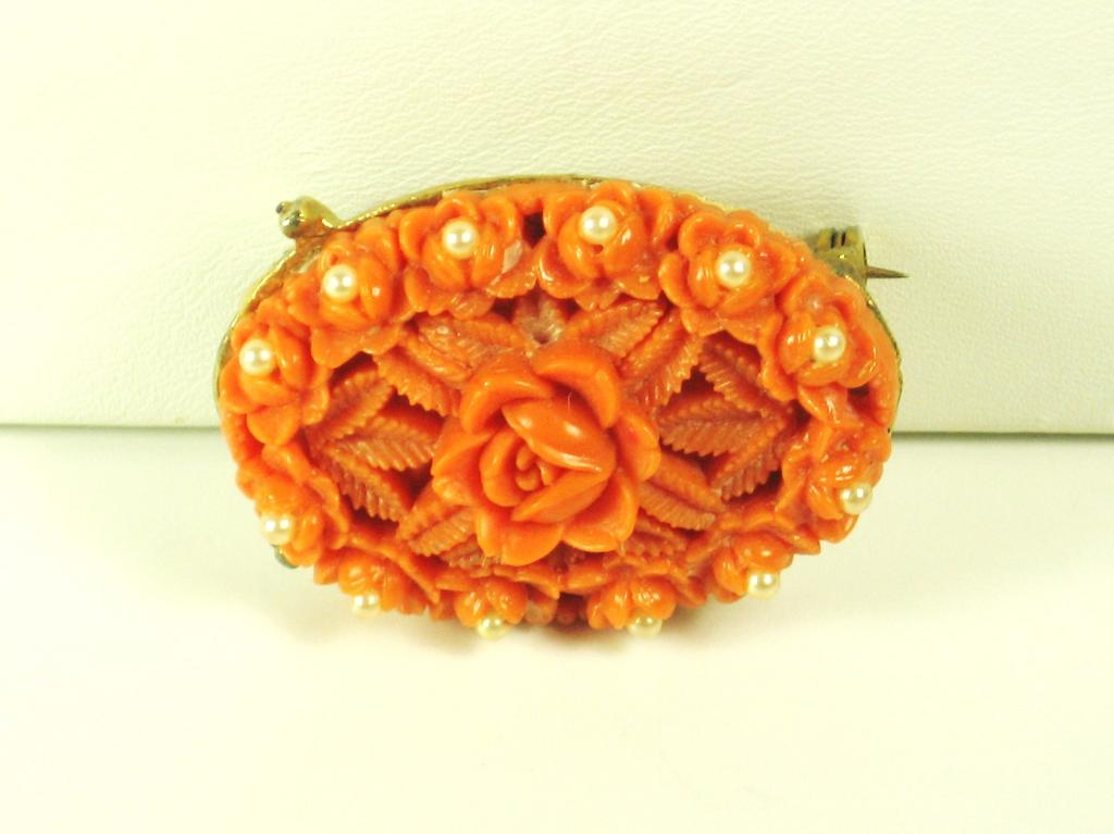 Coral Colored Plastic and Imitation Pearl Flower Pin