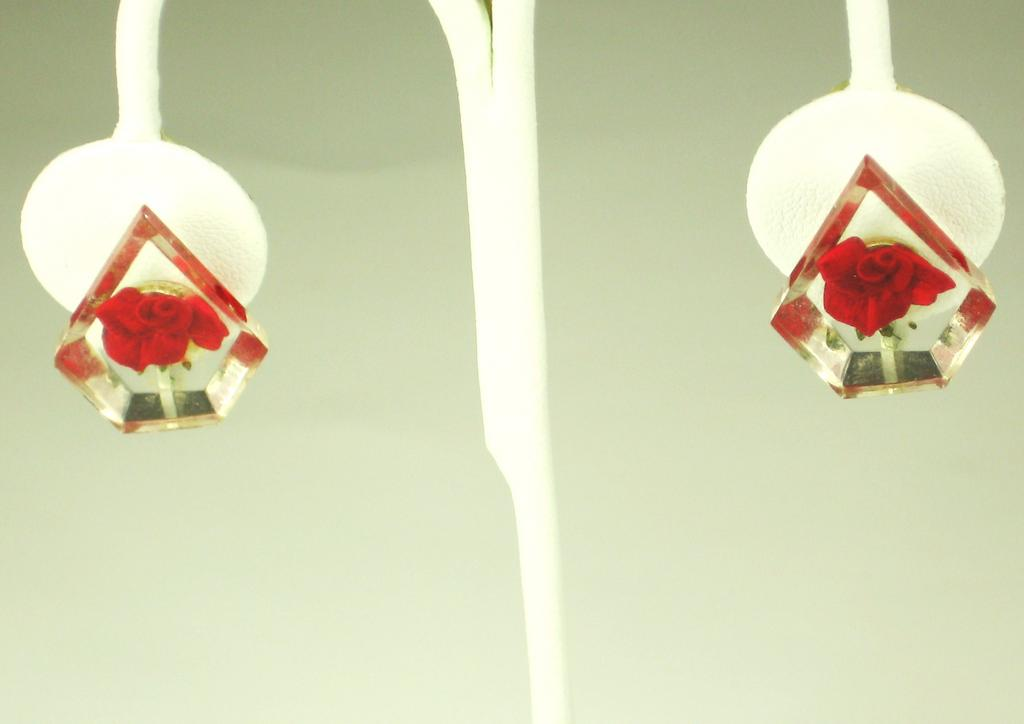 Vintage Reverse Carved Red Rose Lucite Earrings