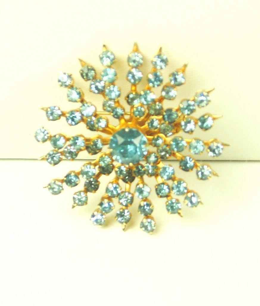 Coro Turquoise Colored Rhinestone Pin