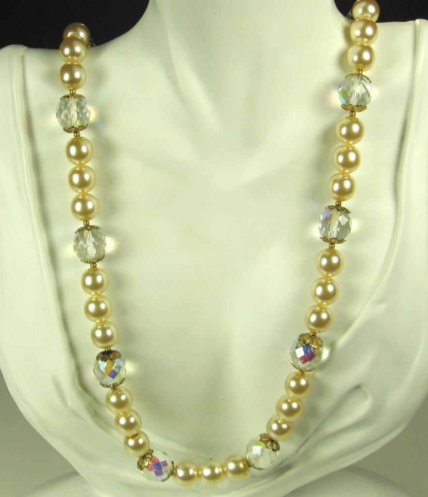 Cream Glass and Faceted Aurora Borealis Crystal Necklace with Imitation Pearls