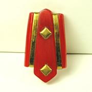 Vintage Red Bakelite Dress Clip
