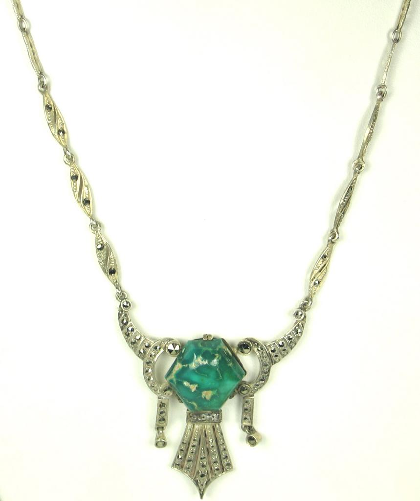 German H.B. Sterling and Turquoise Necklace