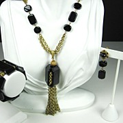 Miriam Haskell 1960s Gold Tone Metal and Black Plastic and Glass Set