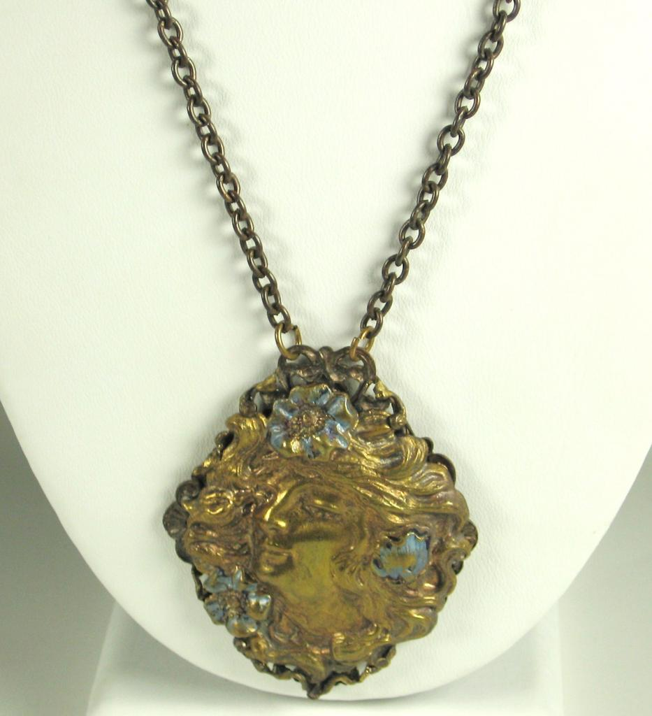 Art Nouveau Brass Lady Necklace