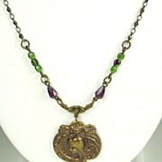 Art Nouveau Brass and Glass Bead Lady Necklace