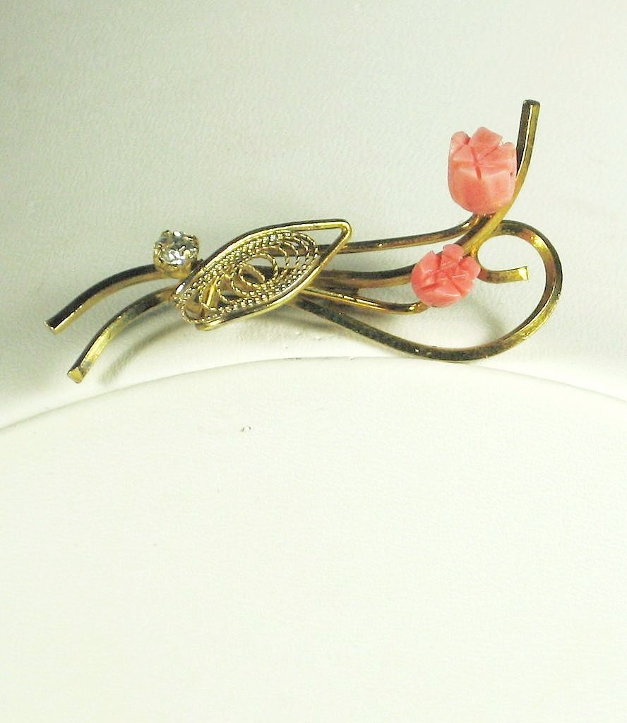 Gold Tone Metal and Genuine Carved Pink Coral Flower Pin