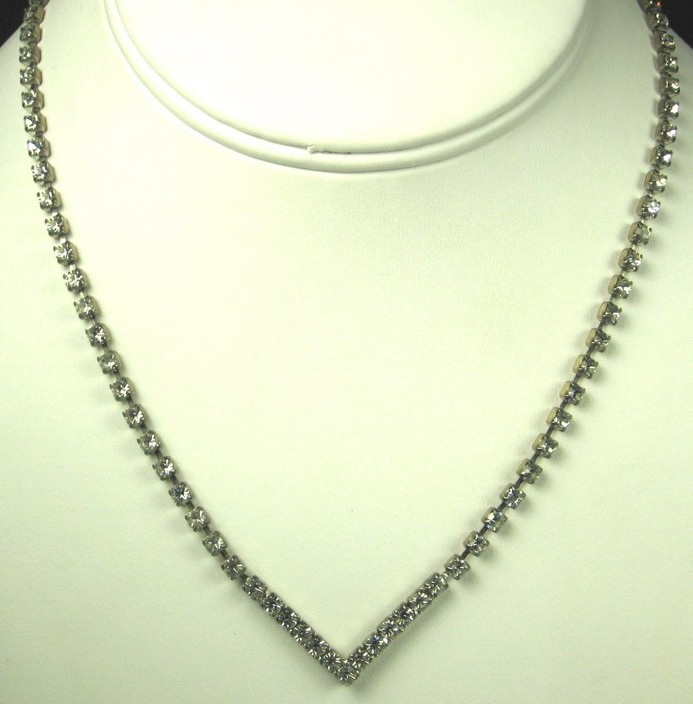 Vintage V Shaped White Rhinestone Necklace
