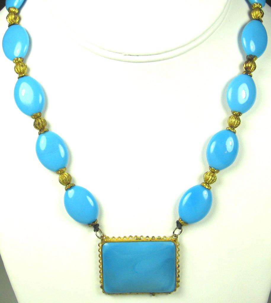 Turquoise Glass and Gold Tone Filigree Metal Necklace