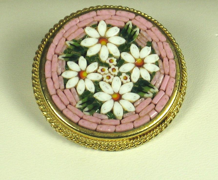 Vintage Pink Colored Floral Italy Mosaic Pin