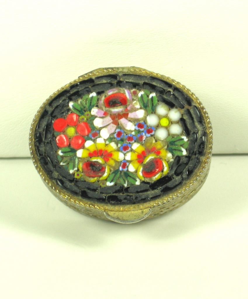 Vintage Italian Micro Mosaic Floral Pill Box