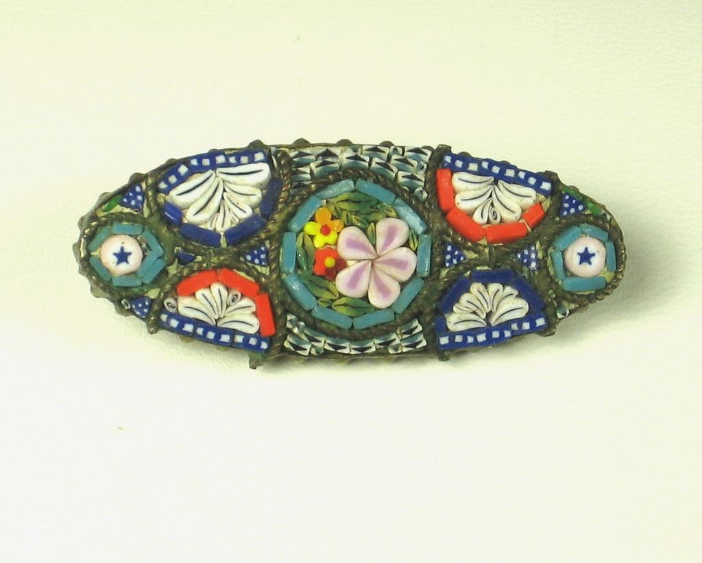 Gorgeous Oval Shaped Brass and Mosaic Glass Floral Pin Made In Italy