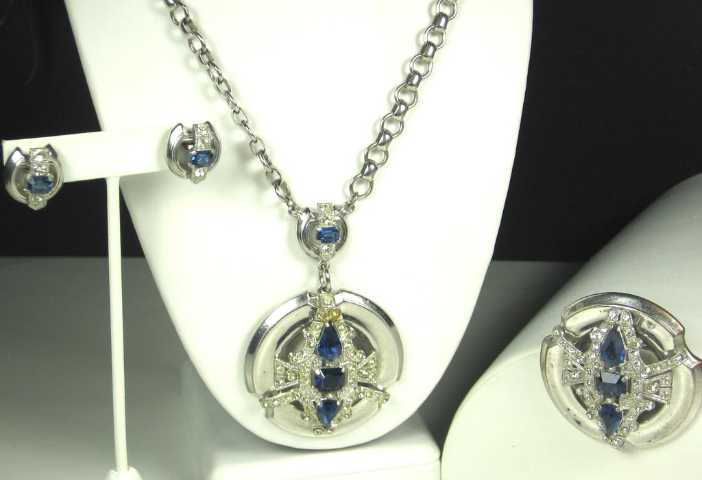 Lovely McClelland Barclay Sapphire Colored Gemstone Necklace, Pin, and Earrings Set
